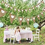 3M Vintage Fabric Hessian Bunting Rustic Burlap Banner Shabby Wedding Party Birthday Decor White Love Heart