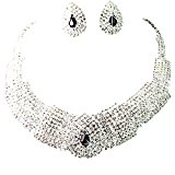 Sanwood Wedding Party Bridal Black Crystal Necklace Earrings Set Jewelry