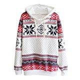 Women Christmas Blouse, Xinantime Christmas Snowflake Hoodie Sweatshirt Jumper Sweater Hooded Pullover (XL, White)