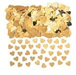 14g Gold sparkle hearts table confetti - fab gold heart wedding anniversary decoration table confetti x 14g pack