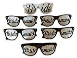 Plastic Bridal Party Sunglasses By DJD - Bride & Bridesmaid Bachelorette Party Favours - 6 Pairs Novelty Wayfarer Sunglasses For Team Bride - For Wedding Photos/Selfies - Fun Hen Party Accessories