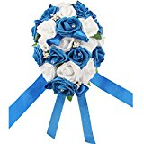 OurWarm Teardrop Style Crystal Roses Pearl Bridal Bridesmaid Wedding Bouquet Artificial Silk Flowers Deep Blue,1PCS
