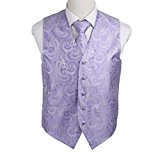 EGD1B01A-L Medium Purple Paisley Microfiber Dress Tuxedo Waistcoats Vest Neck Tie Set Sale For Bridegrooms By Epoint