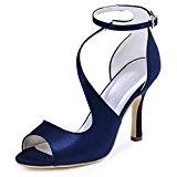 ElegantPark HP1565 Women's Peep Toe Pumps High Heels Ankle Strap Buckle Satin Wedding Evening Dress Sandals Navy Blue UK 5