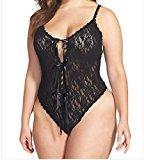Bling-Bling Dress Women's Black Lace Open Gusset Teddy Lingerie S