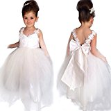 YiZYiF White V-Neck Lace Backless Flower Girl Dresses Kids Princess Bridesmaid Wedding Formal Party Dress White 4-5 Years