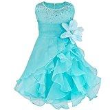 TiaoBug Baby Girls Cascading Organza Party Dresses Rhinestone Flower Girl Wedding Dreses Blue 12-18 Months