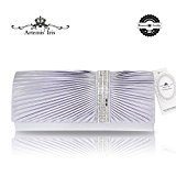 Artemis'Iris Envelope Silver Clutch Bag With Strap, Satin Pleated Diamante Ladies Clutches, Classy Evening Purse Bag For Party Prom Wedding Dating Ceremony