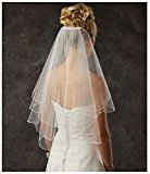 Clearbridal Women's 2 Tier Spark Bridal Pearl Wedding Veil With Comb 11001 White