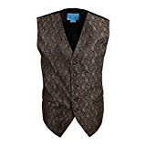 EGC1B08A-L Brown Black Paisley Comfort Groomsmen Waistcoat Woven Microfiber Contemporary Vest Large Vest By Epoint