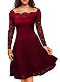 MIUSOL Women's Christmas Christmas Vintage Floral Lace Long Sleeve Boat Neck Cocktail Formal Swing Red Dress Medium/UK 10