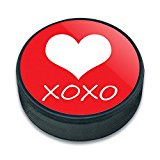 Ice Hockey Puck Celebration Wedding Marriage - XOXO Heart Bridal Baby Birthday Valentines Love