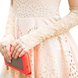 Evening Wedding Sexy Lace Gloves Fashion Classic Long Fingerless Costume Party Fancy Dress Ball Stage Cosplay Gloves Beige for Women Ladies