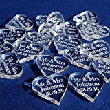 50 Small (2cm) Mr & Mrs Personalised Lucky Love Hearts Bridal Wedding Favours and Table Sprinkles / Confetti - Good luck charm - Acrylic - LittleShopOfWishes (Clear Acrylic)