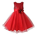 Live It Style It Girls Sequinned Dress Flower Princess Sleeveless Formal Party Wedding Bridesmaid (5-6 Years, Red)