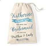 Medium Personalised Bridesmaid cotton drawstring bag banner design