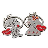 Popular 1 Pair Metal Bride Groom Heart Pendant Love Keychain Couple Key Ring (01)