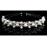 pearl crystal wedding princess tiara headband rhinestone pageant crowns for bride hair