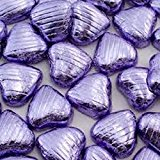 100 Foil Wrapped Luxury Belgian Chocolate Hearts Wedding Favours (Lilac Hearts)