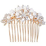 EVER FAITH® Crystal Ivory Color Simulated Pearl Flower Bride Hair Comb Clear - Rose-Gold-Tone A13556-3