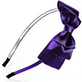 Oversized Satin Bow Alice Hair Band Headband Bridal Wedding Flower Girl Gift For Children & Adults (Dark Purple)