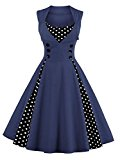 VKStar® Womens Vintage 1950's Inspired Button Swing Evening Dress Rockabilly Pinup Bridesmaid Cocktail Gowns Ball Gown Party Dress Navy 4XL