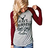 Women Christmas Blouse Xinantime Merry Christmas Cotton Long Sleeve Casual Blouse (XL, Wine)