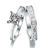 925 Sterling Silver Swarovski Elements Crystal Diamond Accent Love Forever Eternity Engagement Wedding Rings for women men teenage girls, Size Sizer UK M J L K T N P Q R O I S V Z, with a Gift Box, Ideal Gift for Birthdays / Christmas / Wedding (S)