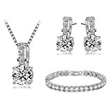 Classic Elegance jewellery set with Austrian Elements Crystals 18ct white gold plated High quality gift SFJS24