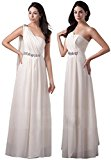 Drasawee One Shoulder Flowing Chiffon Bridesmaid Dress Formal Long Evening Gowns White UK10