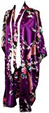 CC Collections Kimono dressing gown robe sexy lingerie night wear dress women lady bridesmaid hen night Japanese oriental peacock style luxurious silk satin rayon natural feel (Purple Violet)
