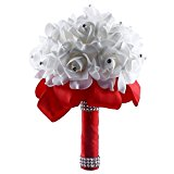 Bride Bouquet, Soledi White Crystal Roses Pearl Bridal Bridesmaid Wedding Bouquet Artificial Flowers
