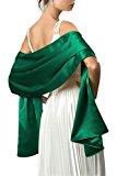 Black Butterfly Satin Shawl Wrap (Emerald)