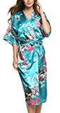 Avidlove Women's Robes Peacock and Blossoms Kimono Silk Nightwear Long Style, Acid Blue, Size Medium