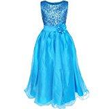 YiZYiF Girls Sleeveless Sequin Flower Sash Formal Wedding Bridesmaid Party Dresses Blue 12-14 Years
