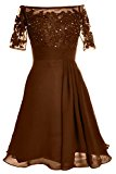 MACloth Women Off Shoulder Lace Short Sleeve Cocktail Dress Wedding Evening Gown (UK12, Brown)