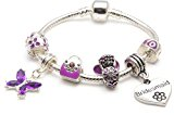 Liberty Charms Bridesmaid Childrens 'Purple Fairy Dream' Silver Plated Charm/Bead Bracelet. With Gift Box and Velvet Pouch. Girls Wedding Thank You Gift/ Present 17 cm(Other sizes available)