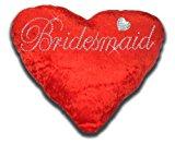 Bridesmaid Love Heart Cushion Red Velvet Brooch Bling Rhinestone Diamante Valentines Gift