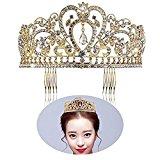 PIXNOR Gold Wedding Tiara Bridal Crown Rhinestone Headpiece with Comb