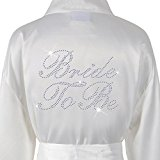 Wedding Day Rhinestone Satin Ivory Bride To Be Bathrobe Personalised Honeymoon Dressing Gown