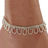 Celeb Crystal Charm Drop Ankle Chain Bracelet Anklet Wedding Jewelry