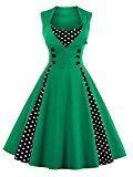 VKStar® Womens Vintage 1953's Inspired Button Swing Evening Dress Rockabilly Pinup Bridesmaid Cocktail Gowns Ball Gown Party Dress Green XL