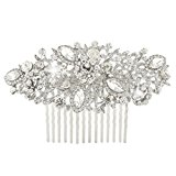 EVER FAITH® Crystal Vintage Inspired Flower Bridal Hair Comb - Silver-Tone N03762-1