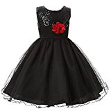 Arrowhunt Little Girls Sequin Mesh Sleeveless Flower Party Wedding Gown Bridesmaid Tulle Dress Black