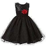Arrowhunt Little Girls Sequin Mesh Sleeveless Flower Party Wedding Gown Bridesmaid Tulle Dress Black