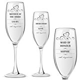 Personalised Champagne Prosecco Glass Wedding Favour Gift Bridesmaid Maid Honour