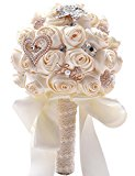 Clearbridal Real Touch Flower Silk Rose Bridal Wedding Bouquet with Pearls Crystal WF036 Cream