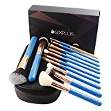 SIXPLUS Make up Brushes, Makeup Brush Set Professional Cosmetics Essential 12 Pieces Shining Handle Makeup Brush Set Synthetic Hair with High-end Makup Bag and Gift box(Black & Blue)(blue)