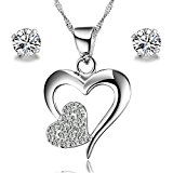 Gilind 925 Sterling Silver Double Heart Necklace and Earrings Set for Women + Gift Box