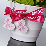 Clest F&H(R)Bride to be Ribbon Earring Pink Bowknot Heart Shape Wedding Party Supplies